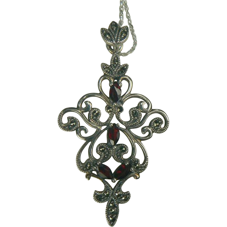 garnet sterling marcasite pendant necklace 26 quot from