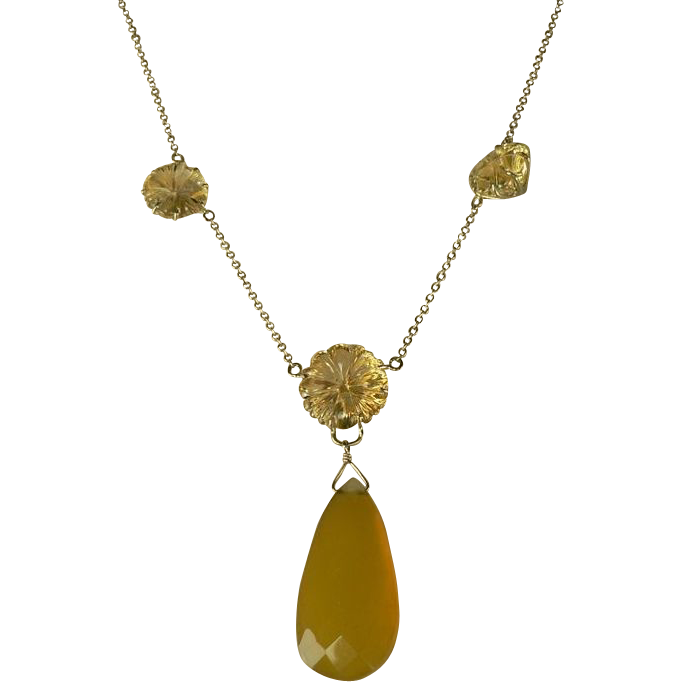 1940's 14k Citrine and Chalcedony Necklace.
