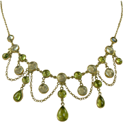 Peridot & Moonstone Festoon Necklace. C. 1950