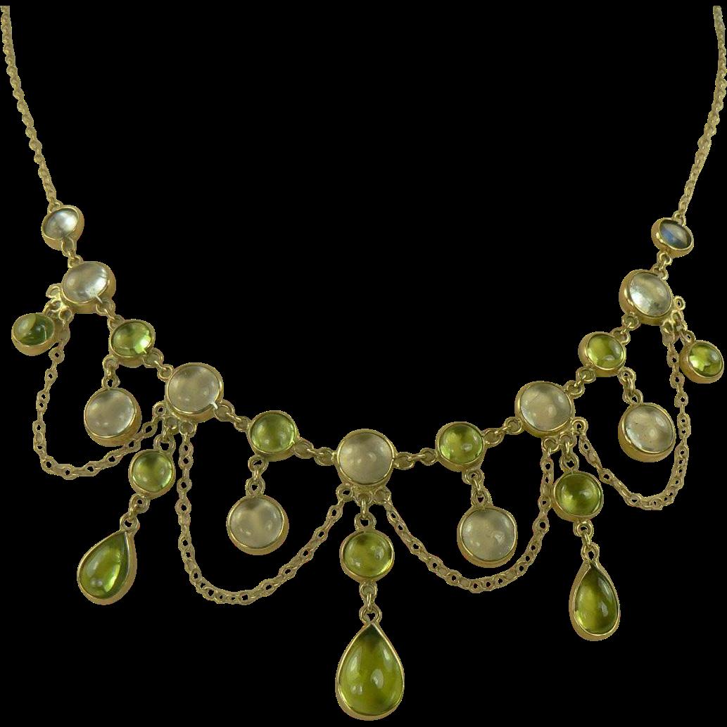 Peridot & Moonstone Festoon Necklace. C. 1950