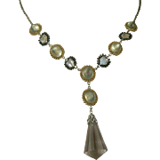 Moonstone & Amethyst Sterling, Vermeil Drop Necklace.