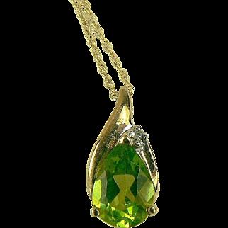 Peridot and Diamond Pendant Necklace-14k