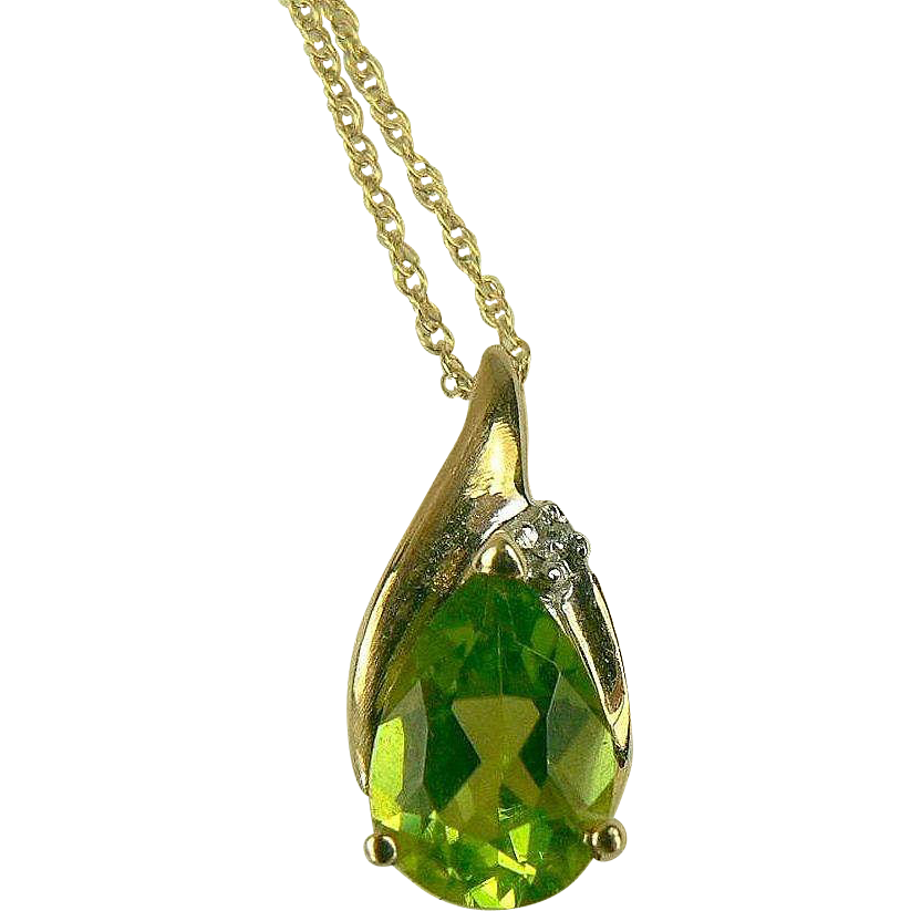 Peridot and Diamond Pendant Necklace-14k