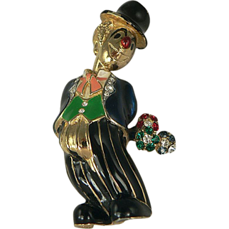 """Whimsical Clown Brooch Design by """"JOMAZ""""."""