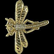 14k Diamond   Dragonfly Brooch.