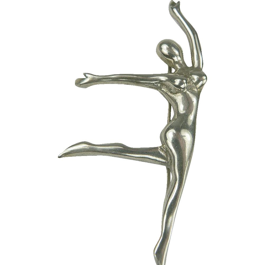 Graceful Sterling Silver Dancer Brooch.
