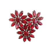 Red Flower WEISS Vintage Brooch-Lovely.