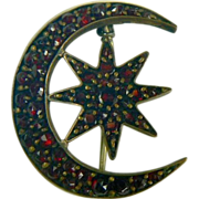 Victorian Star & Moon Garnet Brooch.
