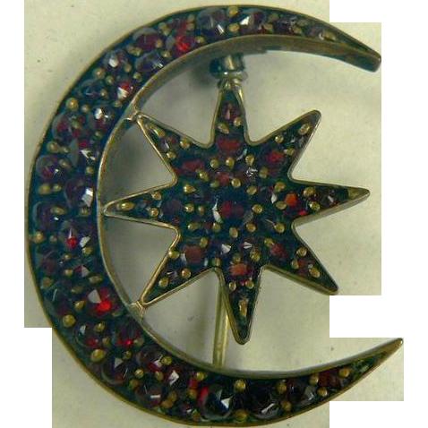 Victorian Star & Moon Garnet Brooch.