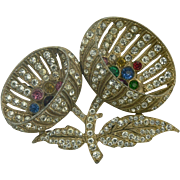 Large 1940's Flower Brooch with Rhinestones