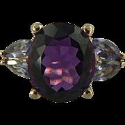 Amethyst, Tanzanite & Diamond Ring -14k -Size 7 1/2.