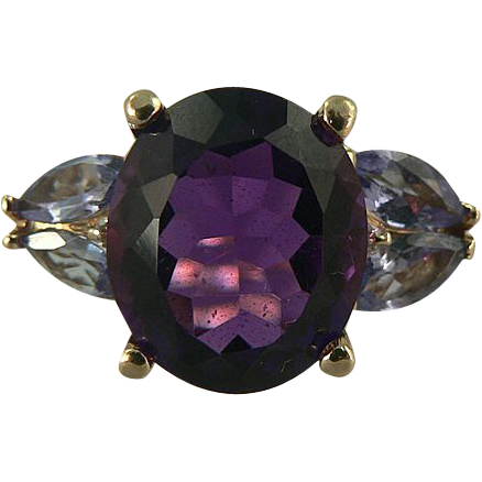 Amethyst, Tanzanite & Diamond Ring -14k -Size 7 1/2.