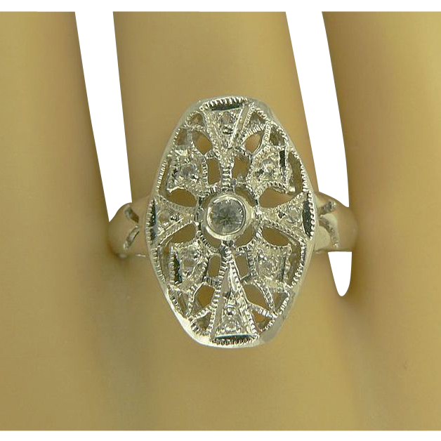 White Sapphire & Sterling Ring-Size 61/2.