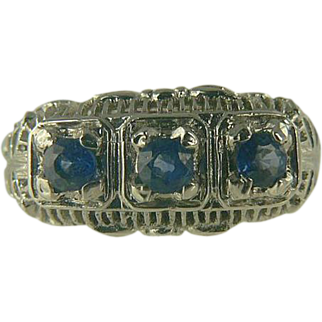 Blue Sapphire & Sterling Ring-Size 7 1/2.