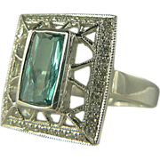 Blue-Green Tourmaline & Diamond Ring - 14k - Size 8.
