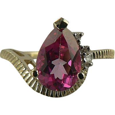 Pink Topaz & Diamond Ring, 14k, Size 6 1/2.