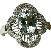 14k  Art Deco Aquamarine & Diamond Ring. Size 8.
