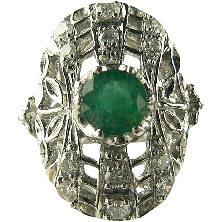 Art Deco Emerald and Diamond Ring - 18k-Size 6 3/4.