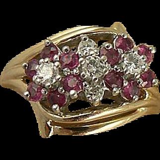 Ruby & Diamond Ring-Floral Motif-14k, Size 7.