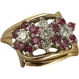 Ruby & Diamond Ring-Floral Motif-14k, Size 7.