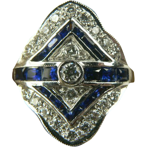 Art Deco 18k Blue Sapphire and Diamond Ring - Size 5 1/2