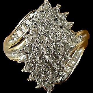 Diamond Ring - Two Tone, 10k Gold, Size 7.25.