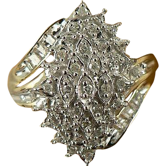 Diamond Ring - Two Tone, 10k Gold, Size 7.25.