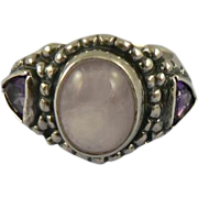 Sterling Pink Quartz & Amethyst Ring, Size 7.