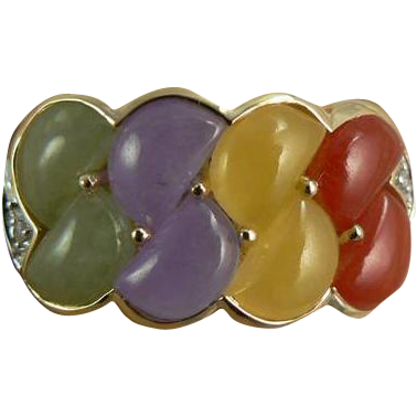 Multi-Colored Jadite Jade Ring -14k, Size 6.75.