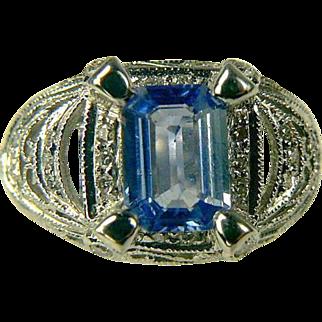 18k Ceylon Sapphire and Diamond Ring-Size 6 1/2.