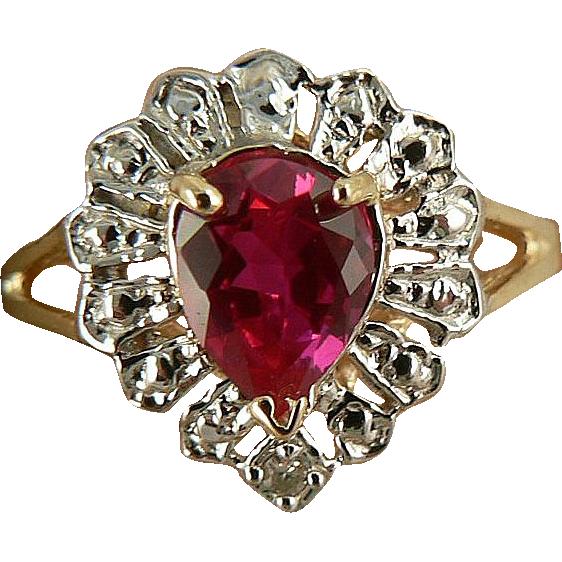 Pink Sapphire & Diamond Ring -10K-size 6.5.