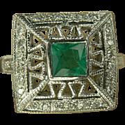 Emerald & Diamond Ring-14k-Size 6 1/2.
