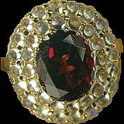Garnet & Blue Moonstone Ring-14k-Size 6 3/4.