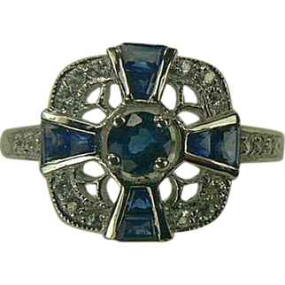 Genuine Blue Sapphire and Diamond Ring-14k-Size 7.