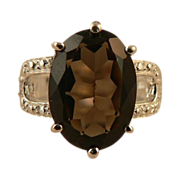 5.5cwt Smokey Quartz Ring -~Sterling ~ Size 7.