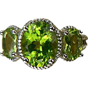 Peridot 3 Stone Ring - 14k White Gold, Size 7.