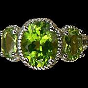 Peridot 3 Stone Ring - 14k White Gold, Size 7.