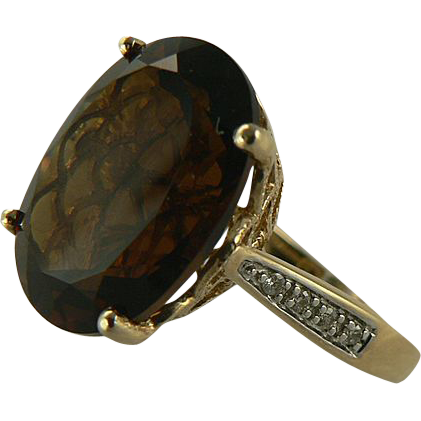 Smokey Quartz & Diamond Ring -14k - Size 7.