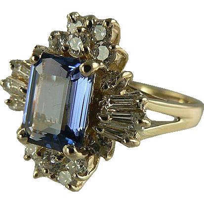 Amazing Genuine Tanzanite & Diamond Ring -~14k ~Size 6.5.