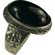 Sterling Onyx Ring-Size 6 3/4.