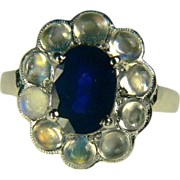 14k Natural Blue Sapphire with Blue Moonstone-Size 7.