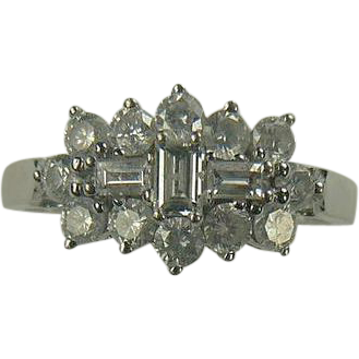 18k White Gold Mid-Century Diamond Ring-Size 7 3/4.