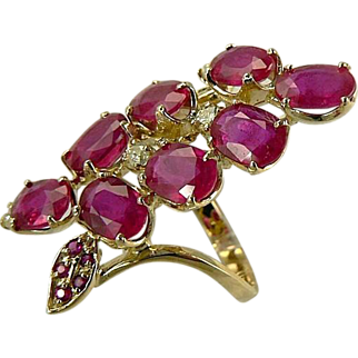 14k Large Ruby and Diamond Cocktail Ring-Size 7.5.