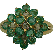 Emerald & Diamond Ring-14k-Size 7.