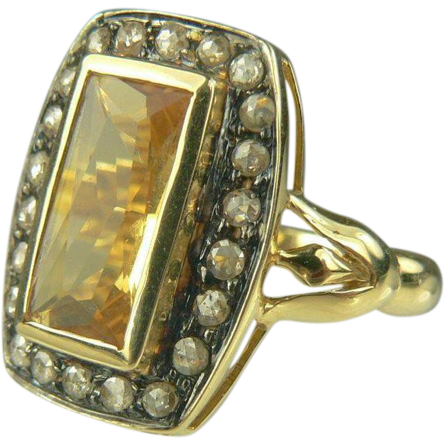 Art Deco Citrine & Mine Cut Diamond Ring-Size 7.