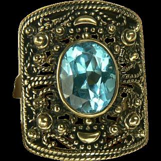 Mid-Century Blue Topaz Ring-10k-Size 8.