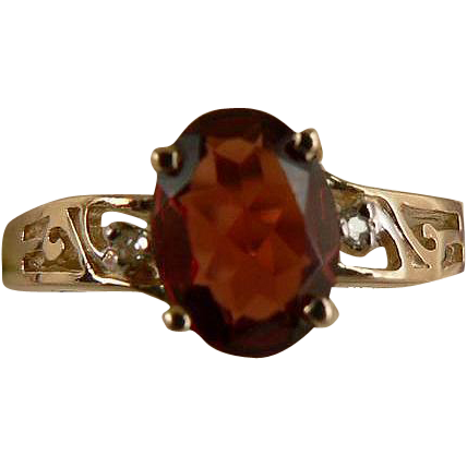 Garnet & Diamond Ring-10k- Size 7.25.