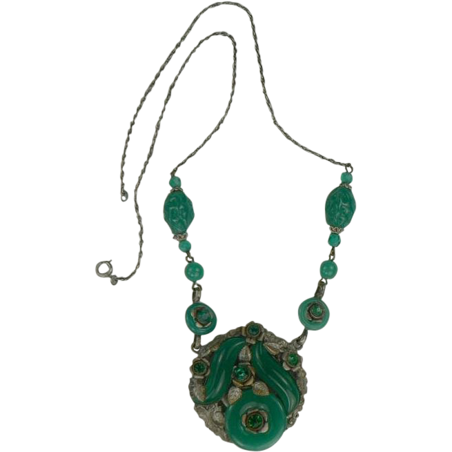 1940's Jade Glass and Sterling Necklace.