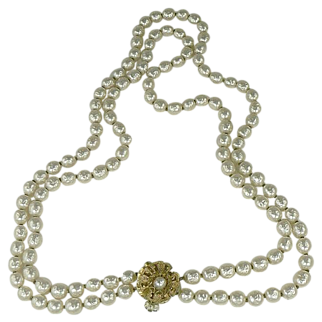 """22"""" Double Strand Miriam Haskel Faux Baroque Pearl Necklace"""