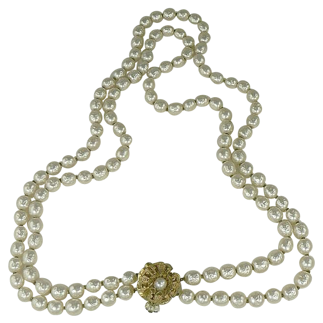 "22"" Double Strand Miriam Haskel Faux Baroque Pearl Necklace"